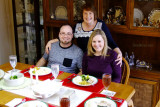 December 2016 - Karen with Jon and Donna at Christmas dinner at our home
