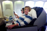 August 2009 - Karen flying from Honolulu to Atlanta non-stop in a Northwest B747-400 first class upper deck