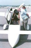 Late 1980's - Karen's dad, Jim Criswell, checking out a Burt Rutan-designed VariEze at an unknown airport