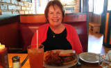 May 2016 - Karen and I about to consume some great barbecue and pie at Jim 'N Nick's, Northfield, Denver