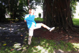 July 2016 - Kyler swinging from tree vines in a tot lot park in Miami Lakes