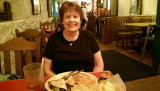 June 2015 - Karen enjoying authentic Mexican food at Casa Rio Mexican Restaurant on the river in San Antonio