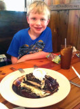 July 2012 - Kyler and our dessert at the Pines Ales House in Pembroke Pines
