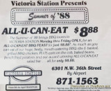 1988 - ad for the Victoria Station restaurant on NW 36th Street in Virginia Gardens