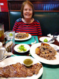 July 2017 - Karen and I about to dine on Churrasco steak with chimichurri sauce, rice and beans and plantains at Molina's Ranch
