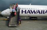 2009 - Karen and Donna arriving at Kona on Hawaiian Airlines Boeing 717 N476HA from Honolulu