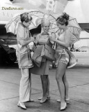 3 lovely Braniff stewardesses in their new Pucci designed outfits