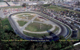 Low aerial view of Hialeah Speedway now occupied by Lowe's, Target, Applebees and a Miami-Dade College building
