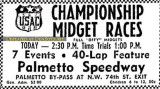 May 1963 - advertisement for midget car racing at Palmetto Speedway in Medley