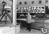 Jack O'Brien doing a live commercial for Municipal Auto Sales in the back lot of WTVJ-TV Channel 4 (Jack's story below)