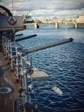 Battle-cruiser Aurora, view to Sampsonievsky Bridge.