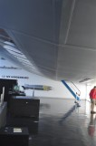 Underneath the Hindenburg replica at the Museum