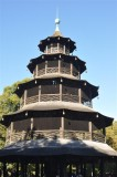 Chinese pagoda in the English Garden in Munich, the Capital of Bavaria