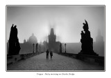Czech Republic - Prague - Strolling in the post dawn rays of sun and mist on Charles Bridge