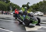 Green man on a green bike