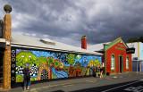 Mural across the street from the Hundertwasser Loo