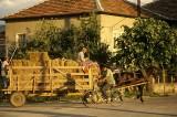 Haywagon passing through a village
