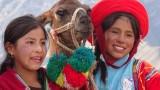 Girls posing with a llama