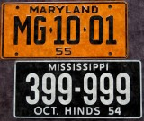 Miniature License Plates - '53-'59