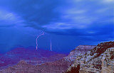 Night lightning at Yavapai Point, Grand Canyon National Park, AZ