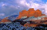 Clearing snowstorm at Mitten Ridge, Schnebly Hill Road, Sedona, AZ