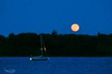 Blood moon and sailboat. Rhode Island.