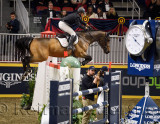 Sharn Wordley on Barnetta soaring to third place in the Longines FEI World Cup Show Jumping competition jumpoff at the Royal Hor