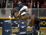 Elizabeth Madden USA riding Breitling LS in the Longines FEI World Cup Show Jumping competition jump off at the Royal Horse Show