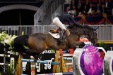 Ali Ramsay Canada riding Hermelien VD Hooghoeve in the Longines FEI World Cup Show Jumping competition at the Royal Horse Show T