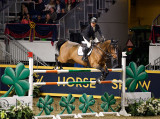 Sharn Wordley New Zealand riding Barnetta to third place in the Longines FEI World Cup Show Jumping competition at the Royal Hor