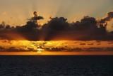 Sunset rays radiating