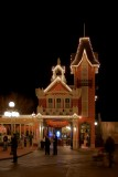 Main Street firehouse at night