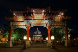 China gate and temple at night