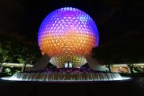 Epcot's Spaceship Earth at night