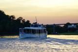 Castaways boat on Bay Lake, sunset