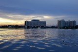 Contemporary and Bay Lake Tower, sunset