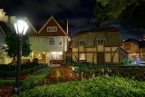 UK Cottage and garden at night