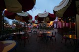 Fantasyland seating area, empty in early evening