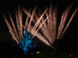 Fireworks of Wishes behind castle