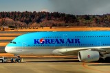 Korean A380, Fuji San Behind