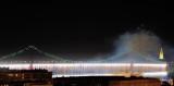 Fireworks Waterfall On The Bridge