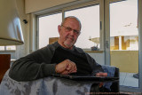 2017 - Ken reading the news on his IPad - Faro, Algarve - Portugal