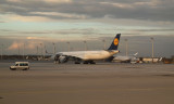 Lufthansa A340 under tow at Munich