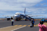 Boarding our flight out of Baltra and the Galapagos