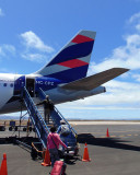 Boarding our aircraft at Baltra airport