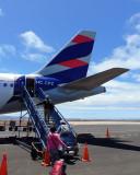 Boarding our aircraft at Baltra airport - LATAM Ecuador Airbus A319-132