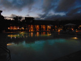 Across the pool at the Finch Bay Hotel after sunset