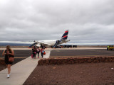 Deplaning on Baltra Island in the Galapagos