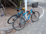 Rusty bicycles tied to a pole, Puerto Ayora, Galapagos