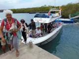 Getting off the Panga at Puerto Ayora, Galapagos Islands